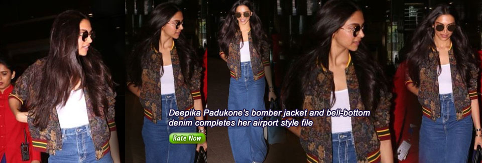 Deepika Padukone's bomber jacket and bell-bottom denim completes her airport style file