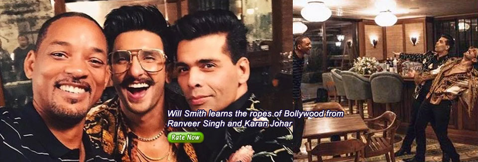 Will Smith learns the ropes of Bollywood from Ranveer Singh and Karan Johar