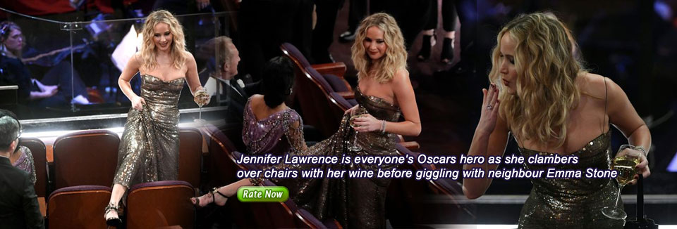 Jennifer Lawrence is everyone's Oscars hero as she clambers over chairs with her wine before giggling with neighbour Emma Stone